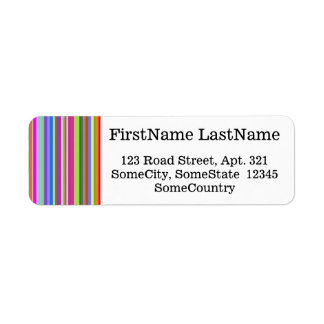 Anpassningsbarnamn/adress + Randar av olika färger Returadress Etikett