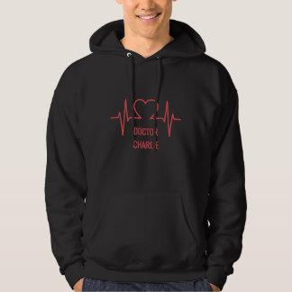 Anpassningsbarnamn för hjärta EKG & bekläda för Sweatshirt Med Luva