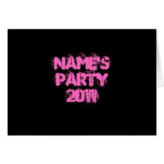 Anpassningsbarnamn. Party 2011. Rosa och svart Hälsningskort