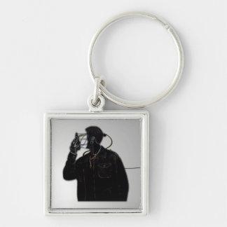 Ansikte av den elektriska manen Keychain Fyrkantig Silverfärgad Nyckelring