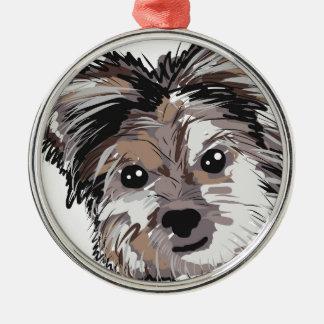 Ansikte för den Yorkie hundvalpen skissar Julgransprydnad Metall