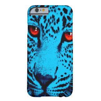 Ansikte för Leopard för Corey tiger80-tal (blått) Barely There iPhone 6 Fodral