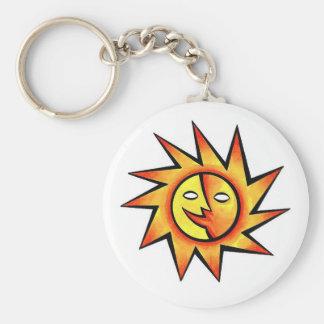 Ansikte för sol för kallt tecknadtatueringsymbol k rund nyckelring