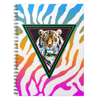 Ansikte för tiger för trianglar för neon för anteckningsbok med spiral