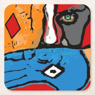 Ansikte i blått och orange kustfartyg underlägg papper kvadrat