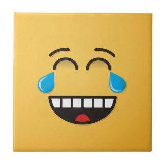 Ansikte med tårar av glädje kakelplatta