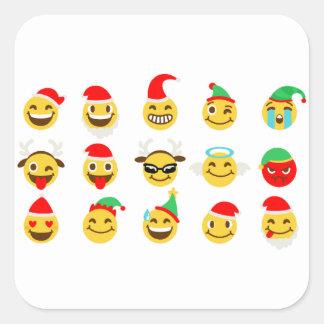 ansikten för julaftonemojilycklig fyrkantigt klistermärke