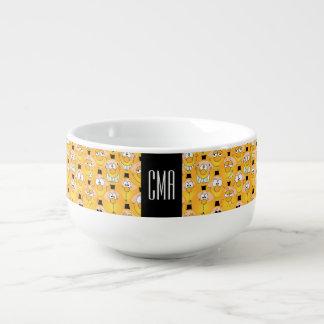 Ansikten för lycklig för MonogramEmoji design Mugg För Soppa