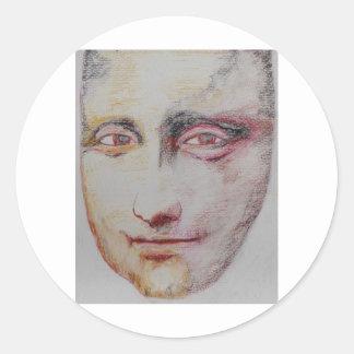 Ansiktet av Mona Lisa Runt Klistermärke
