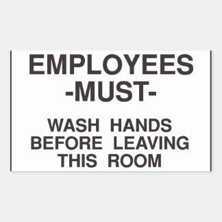 Anställda måste tvätta händerklistermärken rektangulärt klistermärke