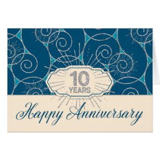 Anställdårsdag 10 år - blått virvlar runt hälsningskort