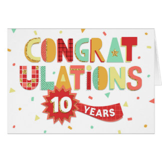 Anställdårsdag 10 år roligtgrattis hälsningskort