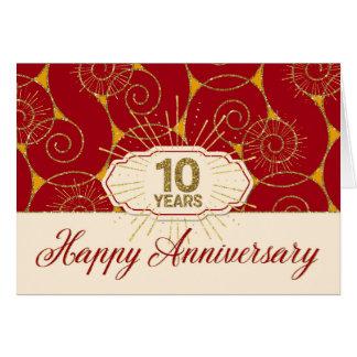 Anställdårsdag 10 röda år - virvlar runt hälsningskort