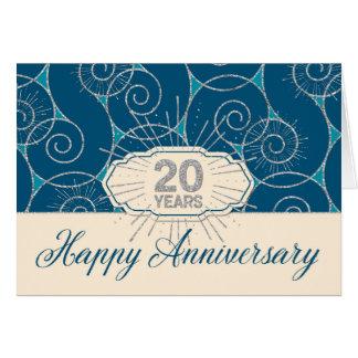 Anställdårsdag 20 år - blått virvlar runt hälsningskort