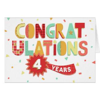 Anställdårsdag 4 år roligtgrattis hälsningskort