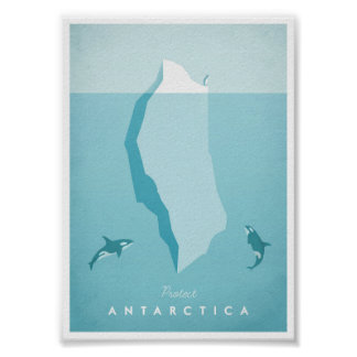 Antarktis vintage resoraffisch poster