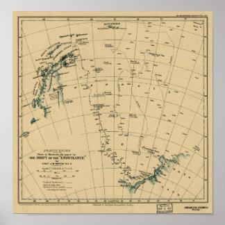 """Antartic regioner """"driva av kartan för uttålighet"""" poster"""