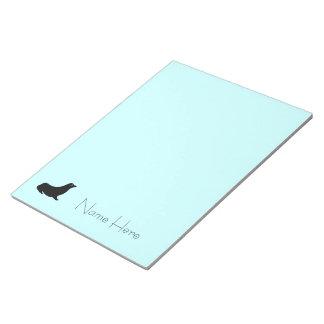 Anteckningsblocket - försegla med namn på blått anteckningsblock
