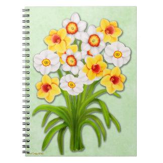 Anteckningsbok för bukett för vårpåsklilja blom-