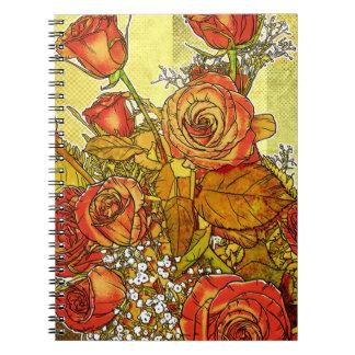 Anteckningsbok för bukett med rosorblommigtspiral