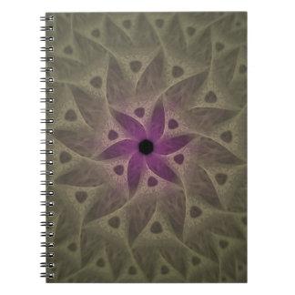 Anteckningsbok för Fractal för lilablommaabstrakt