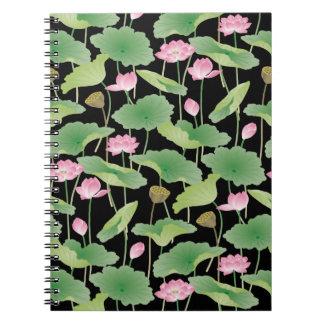 Anteckningsbok för konst för lotusblommablommarpop