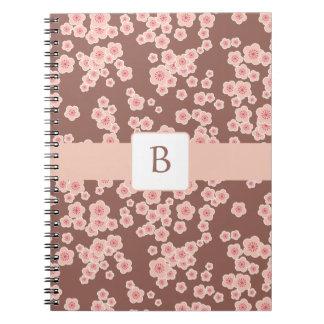 Anteckningsbok för Monogram för körsbärsröd blomma