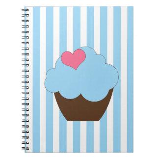 Anteckningsbok för muffin för hjärta för KRW-blått
