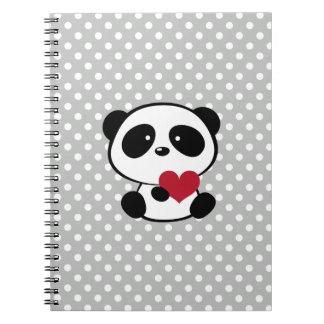 Anteckningsbok för polka dots för grått för