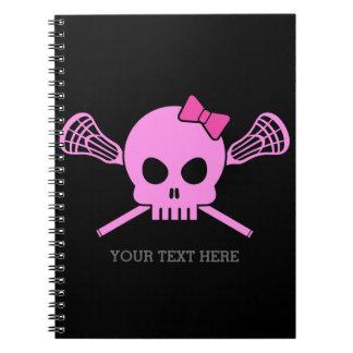 Anteckningsbok för skalle för flickaLacrosse rosa