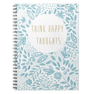 Anteckningsbok för tankar för Belleblått lycklig Anteckningsbok Med Spiral