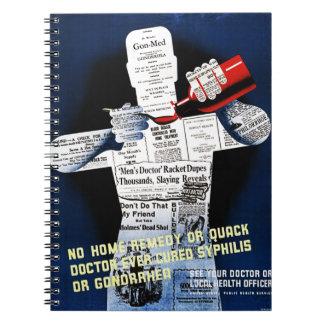 Anteckningsbok för vintageallmän hälsaaffisch