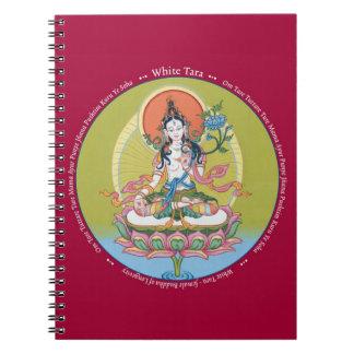 ANTECKNINGSBOK - vit Tara - Buddha av livslängden