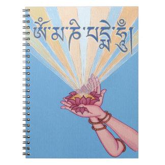 ANTECKNINGSBOKEN med lotusblomma och mantraen Om Anteckningsbok