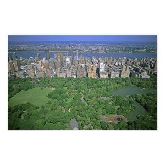Antennen beskådar av Central Park och den västra s Fotografiska Tryck