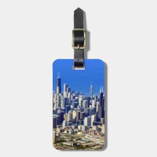 Antennen beskådar av Chicago i city med sjön Bagagebricka