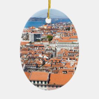Antennen beskådar av Lisbon, Portugal Julgransprydnad Keramik