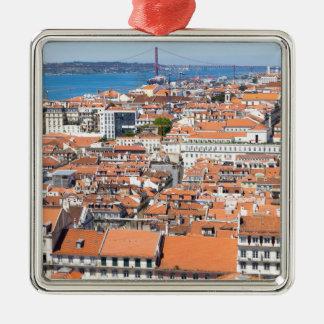 Antennen beskådar av Lisbon, Portugal Julgransprydnad Metall