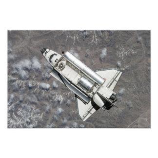 Antennen beskådar av rymdfärjaupptäckt fototryck