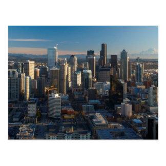 Antennen beskådar av Seattle stadshorisont Vykort