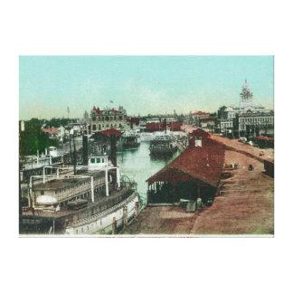Antennen beskådar av WaterfrontStocktonen, CA Canvastryck