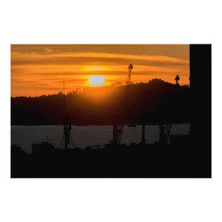 Antennen beskådar solnedgångplats av Montevideo Fototryck