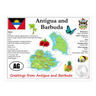 Antigua och Barbudakartavykort Vykort
