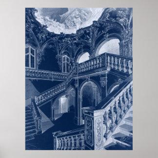 Antik barock arkitekturtrappuppgång för vintage poster