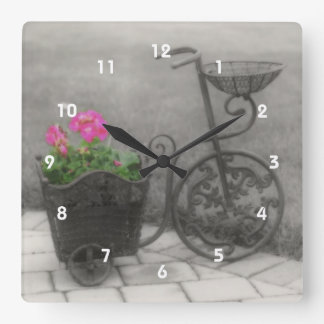 Antik cykelblommahållare fyrkantig klocka