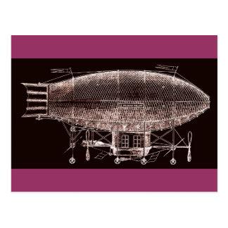 Antik design för airship för franskSteampunk fisk Vykort