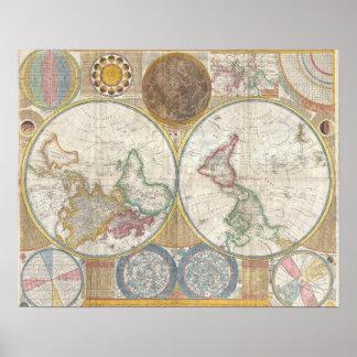 Antik gammal vintage för världskarta poster