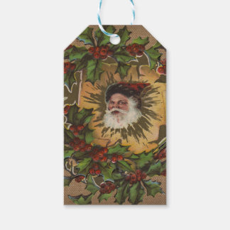 Antik gammalmodig Santa vintagejul Presentetikett