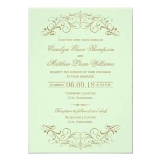 Antik guld- krusidull för bröllopinbjudan | 12,7 x 17,8 cm inbjudningskort