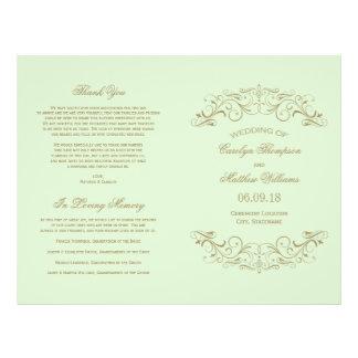 Antik guld- krusidull för bröllopsprogram | reklamblad 21,5 x 30 cm